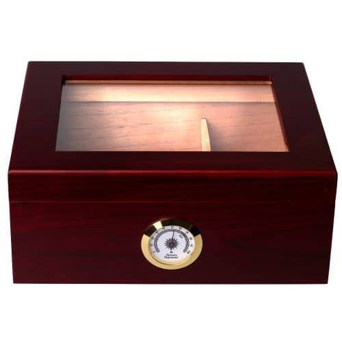 red wood box with glass