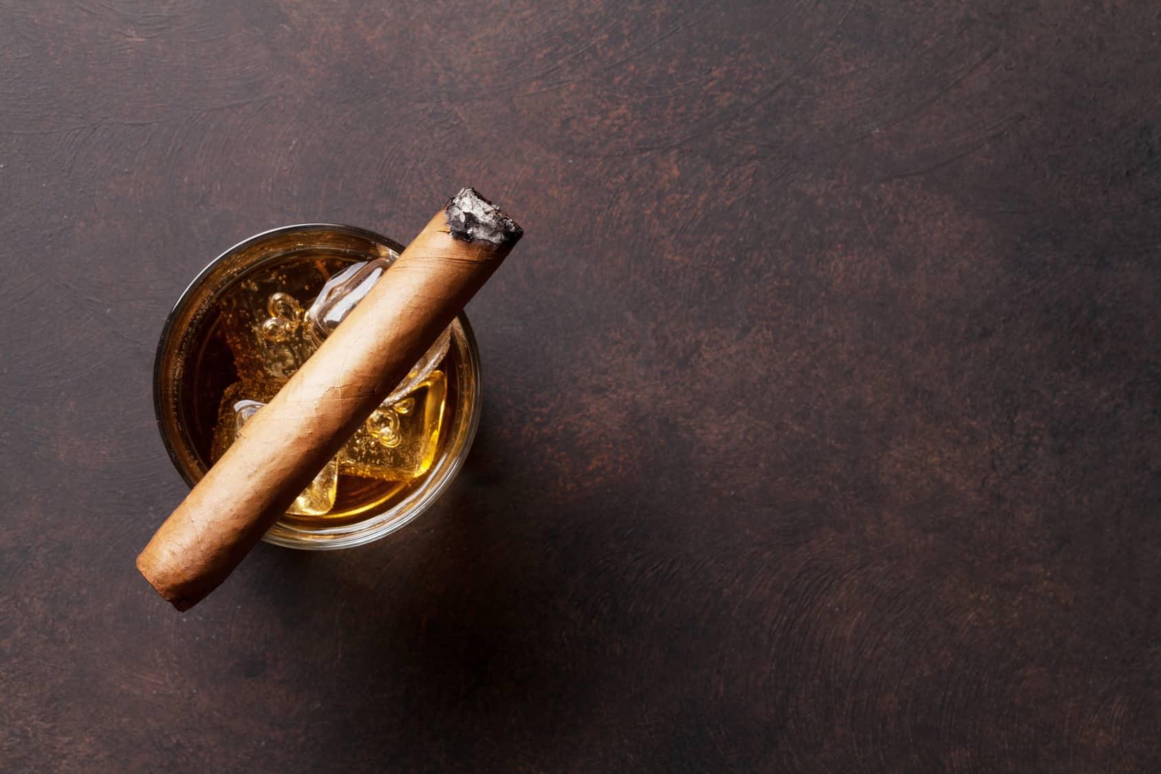 cigar on a glass