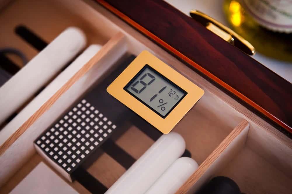 hygrometer on a humidor