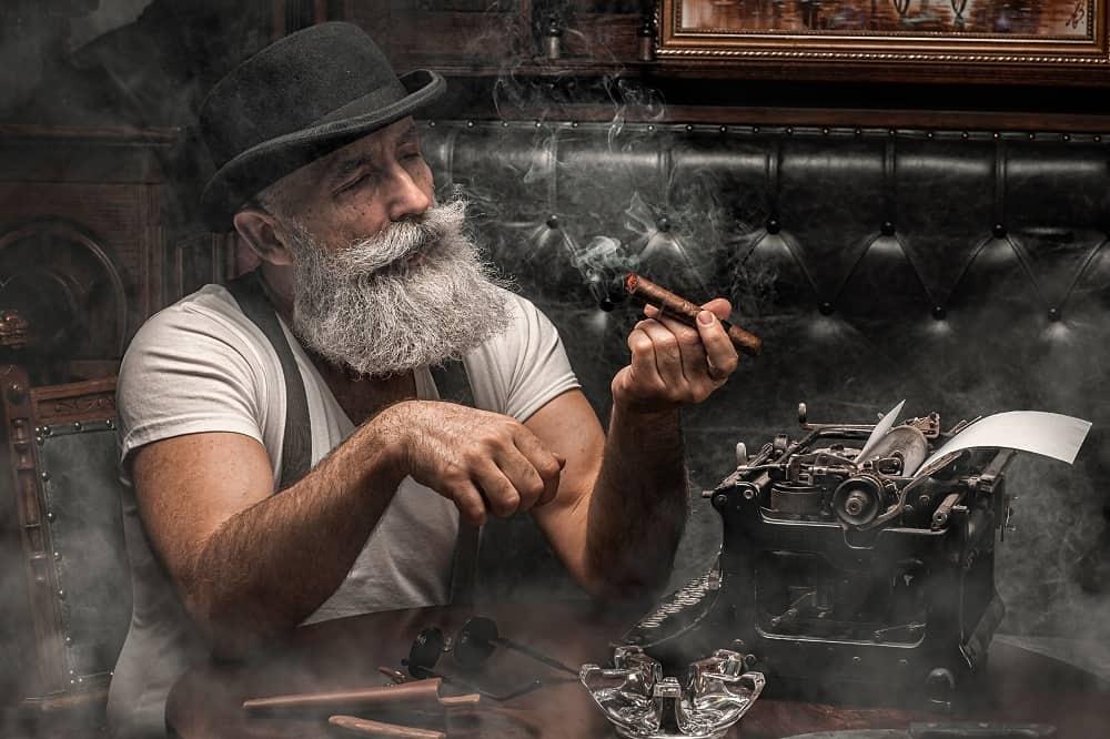 Old man smoking a cigar