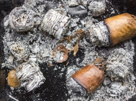 Expensive Cuban cigars in ashes